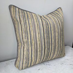 NEW Set of 2 Striped Pillow Covers Gray Yellow
